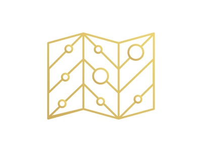 Mapped illustration gradient icon map gold
