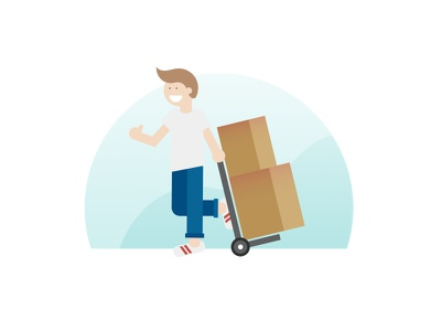 moving vibes happy thumbs up cardboard boxes hand truck moving