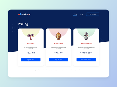 Pricing page for ABtesting.ai desktop artificial intelligence ai robots design website ab testing pricing page pricing