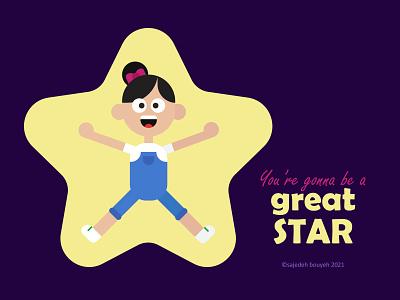 great STAR girl illustration girl character graphic design graphicdesign star illustration art illustrations illustrator flatdesign flat illustration flat design flat design illustration