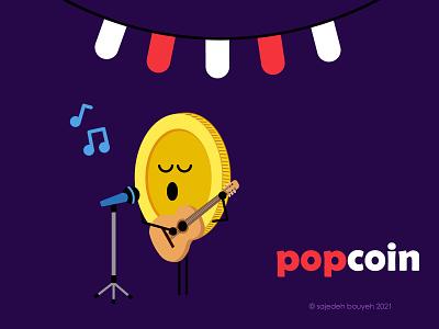 popcoin guitar singing popstar pop popcoin coinillustration coin haftsin haftseen 7seen comics comic 7sin illustrator flat illustration flat design flatdesign flat illustration design