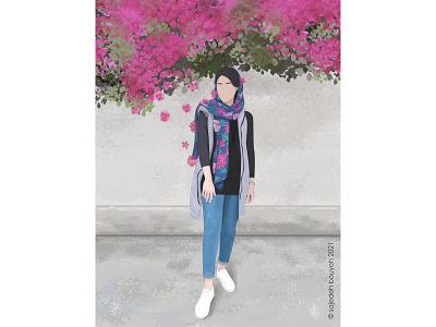 April digital painting girl illustrator flat design flat illustration design