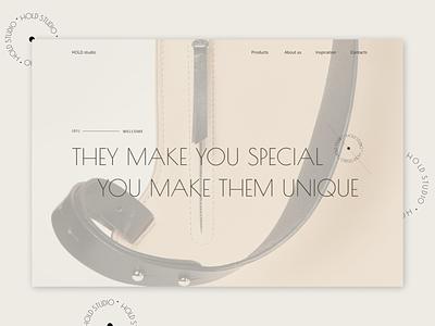 Leather backpack website website branding ui typography web design