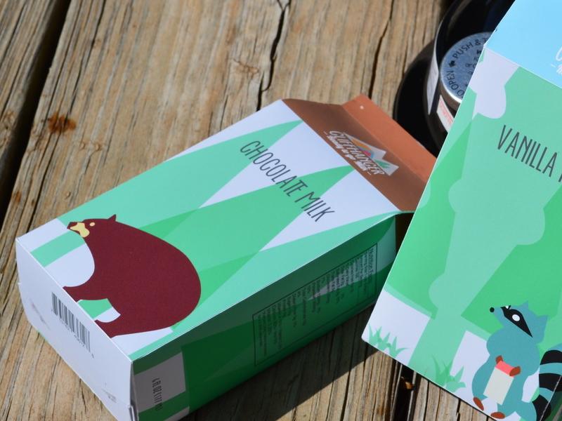 Cliffhanger - Milk Packaging  camping outdoor product design package design milk package cliffhanger bear raccoon graphic design illustration branding outdoor store