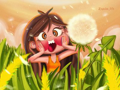 Summer YuKo/Dandelion procreate art procreate happy summer summertime card brand character artwork drawing fan character illustration cartoon character cartoon artist