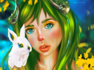 Dryad Girl artwork illustration fantasyportrait fantasy portrait magic fairy dryad nature natureportrait procreateart whiterabbit rabbit drawing artist
