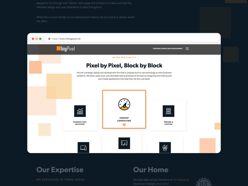 The Big Pixel webdesign landing page design