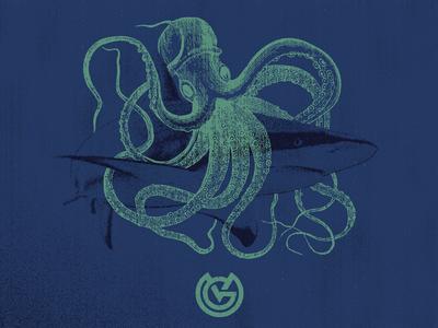 Shark & Squid apparel graphics illustration design