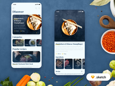Food recipes app - Freebie ios product recipe food freebie free flat minimal clean sketch animation mobile design interface app ui