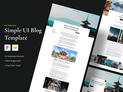 Simple UI Blog Template (FREE) website category cities travel blogger blog post mainpage uikit theme article figma sketch web blog ux ui