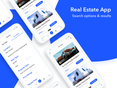 Real Estate Mobile App - Search real estate house rent mobile app sketch ui ux interface