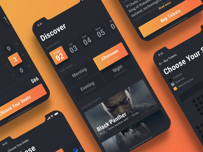 The process of ordering a ticket - Cinema app design seats tickets payment ux ui movie mobile interface cinema app animation