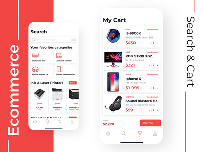 Mobile App for Electronic Store - Search & Cart store shop electronics summary order cart search sketch product ios mobile design interface ux app ui