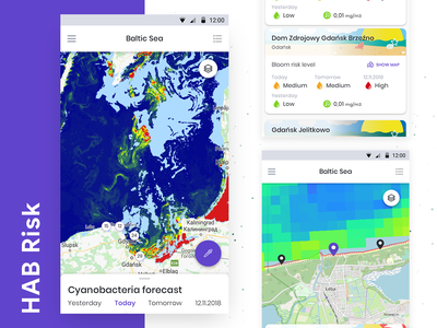 HAB Risk - Cyanobacteria bloom forecast app analytic sea geolocation map dashboard android mobile design interface ux app ui