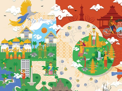 HOPE illustraion indonesia heritage people design branding vector