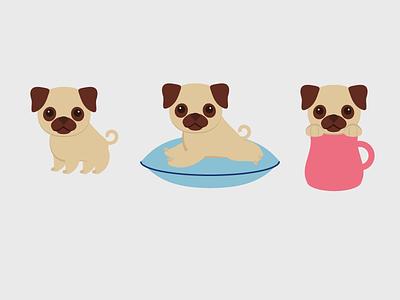 Cute Pugs illustration flat design