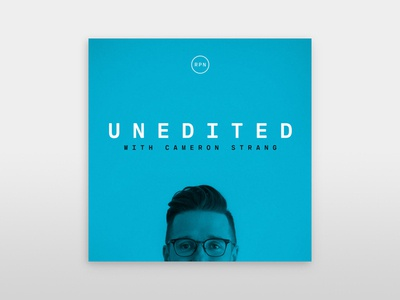 Unedited // with Cameron Strang podcast logo minimal creative direction graphic design