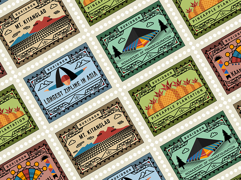 Local Stamps tourism vector icons bukidnon philippines place stamps