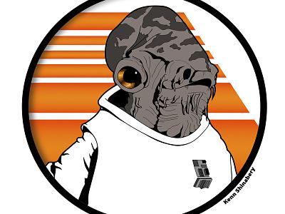 Star Wars - Admiral Ackbar the empire force vector graphic adobe illustrator alien force awakens admiral ackbar rebel alliance star wars