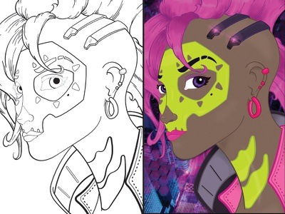 Overwatch: Sombra (VECTOR GRAPHIC) blizzard blizzard entertainment cintiq wacom adobe illustrator vector graphic game art character design sombra overwatch