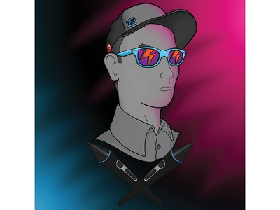 Neon Me... sunglasses baseball cap baseball hat vector illustrator stylus wacom photoshop adobe neon