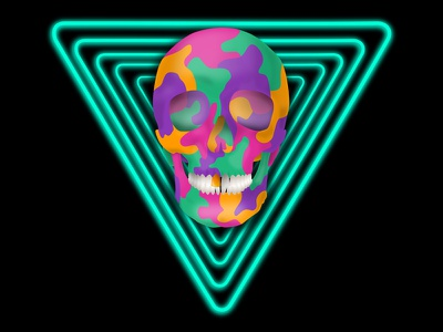 Neon Techno Skull vector graphic vector punk glowing glow illustrator illustration graphic design 2077 cyberpunk techno neon ipad pro ipad skull
