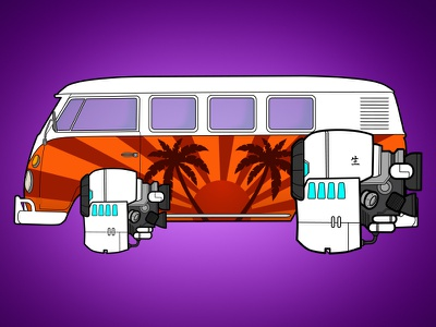 Space Van transport future jet engine vehicle game art volkswagen vw vw van van