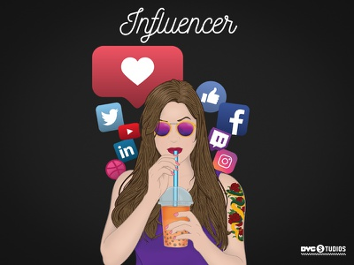 The Influencer woman follow like youtube dribble twitch linkedin twitter facebook instagram vector girl