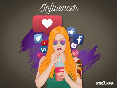 The Influencer: Variant vector lady woman followers follow like dribbble youtube twitter linkedin facebook instagram social media girl marketing
