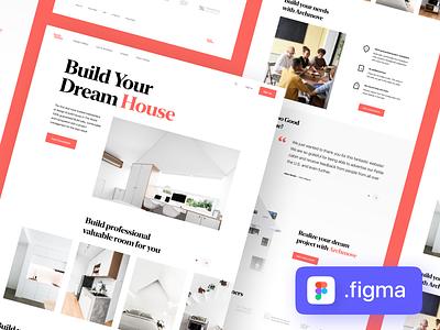 Freebies — Architecture Landing Page minimal npw management design art direction landingpage project build dream house freebie figma freebies architecture