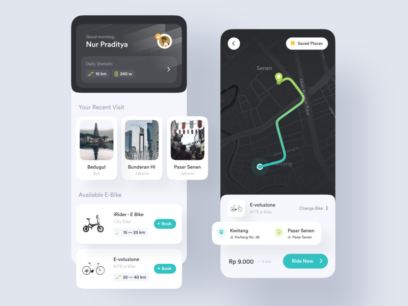 Electric Bike Rental — App Concept design clean modern bycicle mobile app tracking track electronic e-bike exercise sports travel ux riding ride navigation maps app design npw ui