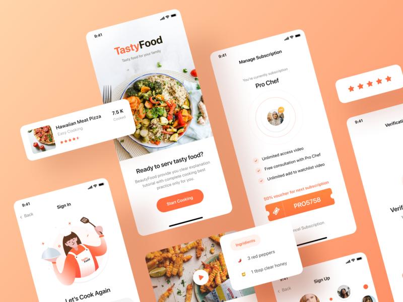 Tasty Food - Cooking Courses App UI Kit light orange cooking mobile ux app ios design modern npw ui clean food