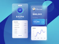 Saving App Concept graphic balance npw money interface blue services translucent product design personal banking saving investment fintech finance budget statistic spending bank application app design