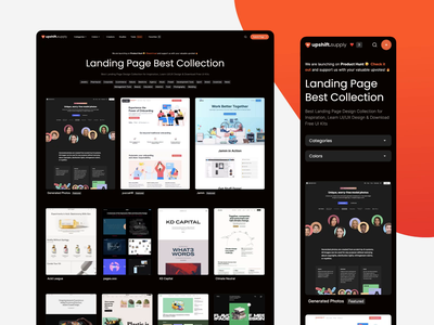 Upshift.Supply - 1000+ Curated High Quality Landing Page homepage design handpicked curated supply upshift inspiration category collections reference design landingpage homepage ux clean ui modern