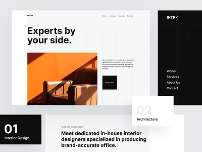 Interior Design Studio - Website minimal architecture grey white black orange contrast typography scale layout website studio interior design management ux clean npw ui modern