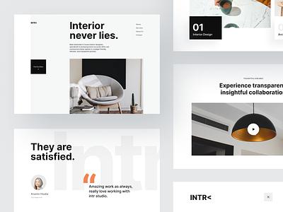 Interior Design Studio - Website modern npw ui clean ux management design minimal architecture contrast typography scale layout website studio interior orange black white gray