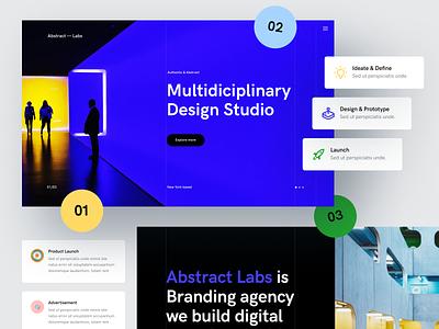 Abstract Labs — Studio Website agency branding advertisement prototype idea launch product studio landing page website grey black blue abstract design ux clean npw ui modern