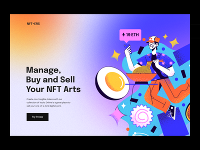 NFT Art Platform ⌁ Landing Page web hero image colors website landing page bitcoin ethereum blockchain platform marketplace nft art nft branding illustration design ux clean npw ui modern