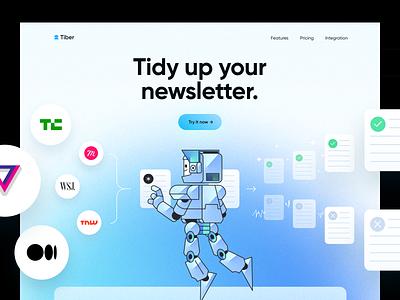 Tiber ⌁ SaaS Landing Page data subscription newsletter hero website landing page saas artificial ai robot blue colors illustration design app ux clean npw ui modern