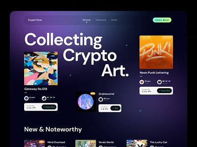 Crypto Zone - NFT Crypto Art Marketplace collecting bid dark mode landing page website blockchain ethereum bitcoin marketplace nft crypto art crypto branding design app ux clean ui npw modern