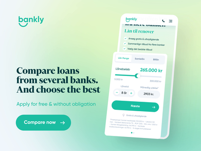Bankly - Compare Loans Mobile Experience finance isometric floating money marketing gradient compare loan bank website landing page bankly branding illustration design app ux clean npw ui