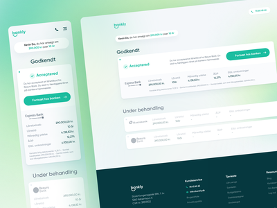 Bankly - Loan Accepted Dashboard floating gradient landing page website marketing money compare loan financial finance bank bankly green design app ux clean npw ui modern
