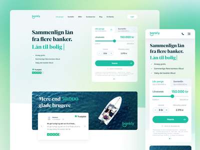 Bankly ⌁ Comparing multiple banks rates money financial finance bank budget marketing loan rates bankly green website landing page gradient design app ux clean npw ui modern