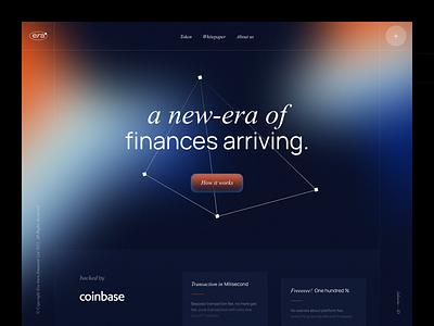 Era Crypto - Blockchain Landing Page dark platform npw ui minimal trade trading finance gradient modern grid design nft eth crypto bitcoin blockchain website landing page clean