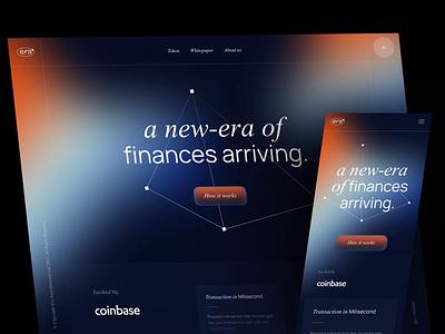 Era Crypto - Blockchain Landing Page trading app branding minimal platform dark motion gradient finance blockchain nft crypto bank financial design ux clean npw ui modern