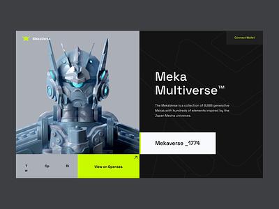 The MekaVerse - NFT Project gundam robot minting mint mekaverse mecha meka bitcoin crypto defi blockchain nft app morva design ux clean ui npw modern