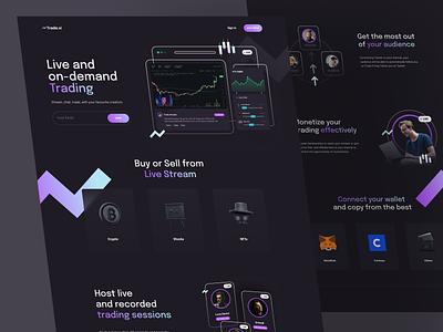 Tradevi - Streaming Trader Platform nft blockchain trader crypto dark mode website landing page host creator video trading trade branding ui app design ux clean npw modern