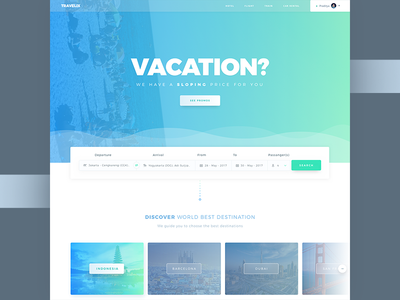 Vacation - Travel Landing Page ticket flight trip travel landing interface hotel cards booking book