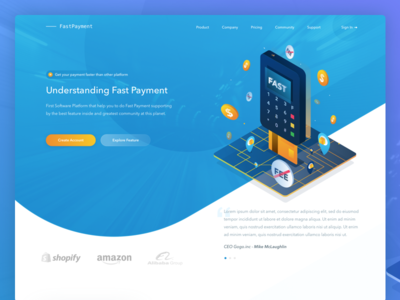 Fast Payment - Landing Page system payment security banking safe product managment finance illustrations data clean