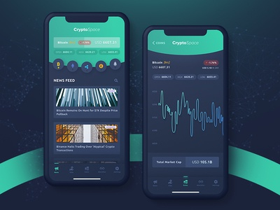 Cryptocurrency - App Concept cryptocurrency bitcoin dark clean landingpage list management maps data modern